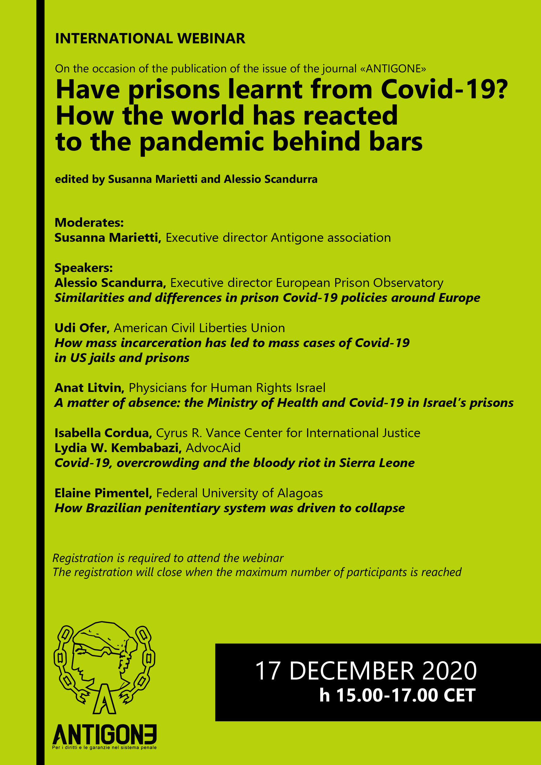 "17 dicembre 2020, international webinar: ""Have prisons learnt from Covid-19? How the world has reacted to the pandemic behind bars"""